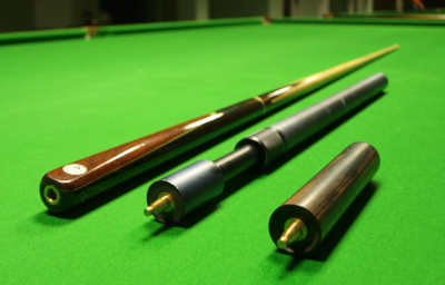Snooker cue with two attachable extensions Snooker cue and extensions.png