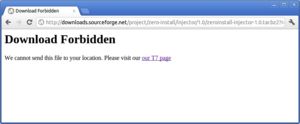 SourceForge - An exact recreation of an actual error message seen by someone attempting to access SourceForge from Iran, an ITAR-restricted country. Presumably the message is the same for all ITAR-restricted countries.