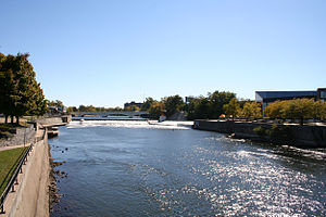 St. Joseph River (Lake Michigan) - The St. Joseph River flows through downtown South Bend, Indiana.  The abrupt turn of the river gives the city its name.