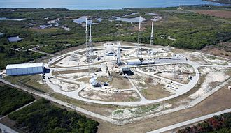 Cape Canaveral Air Force Station Space Launch Complex 40 - SLC-40 in February 2010 with Falcon 9 v1.0 rocket carrying Dragon Spacecraft Qualification Unit