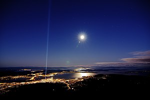 Spectra (installation) - Image: Spectra & Full Moon from Mt Wellington (9111132653)