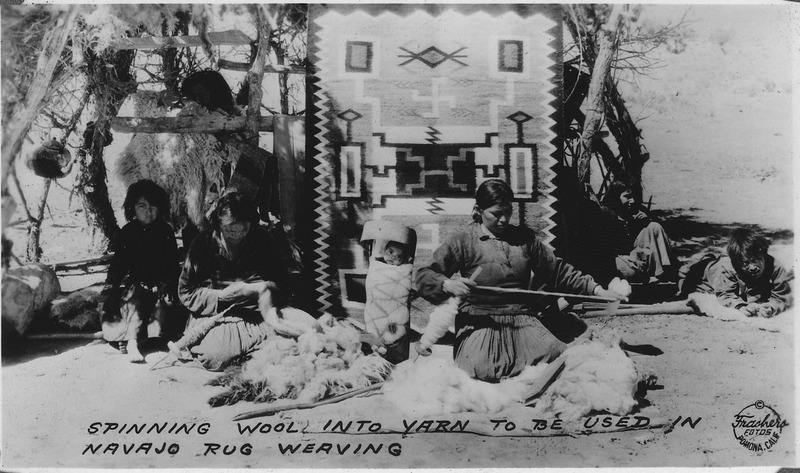 File:Spinning wool into yarn to be used in Navajo rug weaving. Southern Navajo Agency, 1933 - NARA - 298599.tif