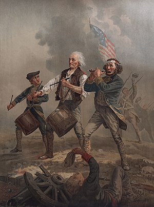 Patriot (American Revolution) - The Spirit of '76 (originally entitled Yankee Doodle), painted by Archibald Willard in the late nineteenth century, an iconic image relating to the patriotic sentiment surrounding the American Revolutionary War