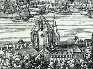 """Alt St. Heribert in Köln-Deutz aus dem Holzschnitt """"Große Ansicht von Köln"""""""