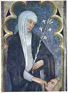 Santa Caterina da Siena, affresco di Andrea Vanni nella Basilica di san Domenico, Siena.