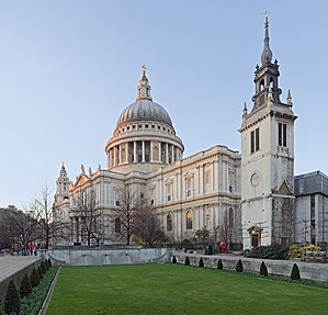St Paul's Cathedral and the remaining tower of...