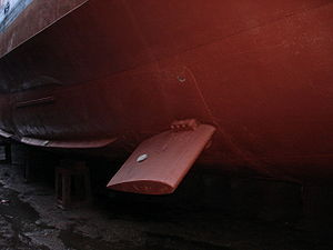 Stabilizer (ship) - Ship stabilizers: a fixed fin stabilizer (foreground centre) and bilge keels (left background).