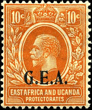Postage stamps and postal history of Tanganyika - 1922 G.E.A. overprinted 10- orange stamp of Tanganyika
