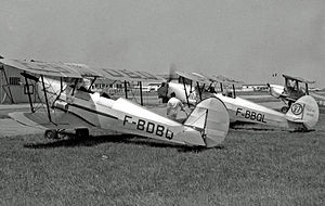 Saint-Cyr-l'École - Stampe SV.4 training biplanes at the airfield in 1957