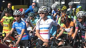 UCI Women's WorldTour - Lizzie Armitstead and Katarzyna Niewiadoma pictured here at the start of the 2016 La Flèche Wallonne Féminine. Note, the distinctive classification leaders jerseys.