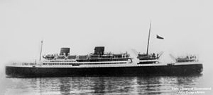 RMS Asturias (1925) - Asturias as built in the 1920s as a motor ship with two low funnels