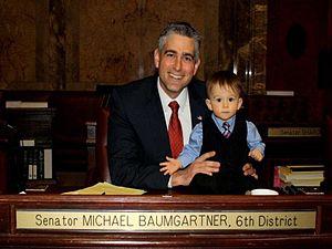 Michael Baumgartner - State Senator Michael Baumgartner, with his son, Conrad.