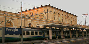 Perugia railway station - View of the passenger building.