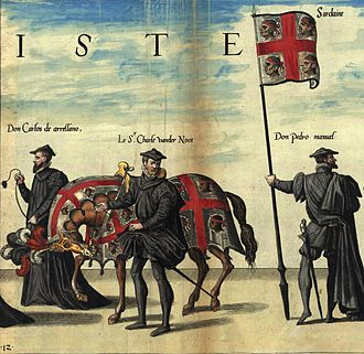 Kingdom of Sardinia - Flag of the Kingdom of Sardinia at the funeral ceremony of Charles V