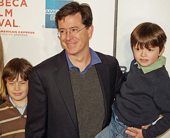 Stephen Colbert and sons at the premiere of Sp...