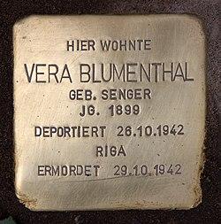 Photo of Vera Blumenthal brass plaque