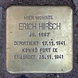 Photo of Erich Hirsch brass plaque