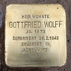 Photo of Gottfried Wolff brass plaque