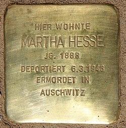 Photo of Martha Hesse brass plaque