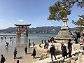 Stone lantern and grand torii of Itsukushima Shrine.jpg