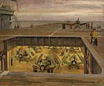 Strike Down Aircraft after Refuelling. On Board an Aircraft Carrier by Stephen Bone NMM NMMG BHC1551.jpg