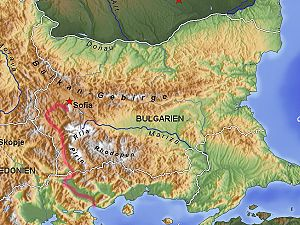 Struma (river) - The course of the Struma in Bulgaria and Greece