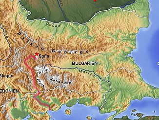 The Struma River - in Bulgaria and Greece (red line)