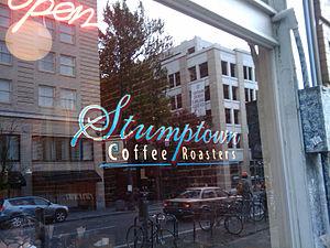 Stumptown Coffee Roasters sign in downtown Por...