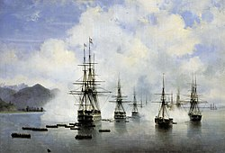 The landing of Nikolay Raevsky's squadron at Subashi, as depicted in 1839 by Ivan Aivazovsky, an eyewitness to the event.