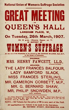 Suffrage meetings and events- National Union of Women's Suffrage Societies Great Meeting In Queen's Hall26 Mar 1907 (22677927727).jpg