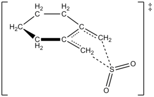 Cheletropic reaction - Proposed Transition State for Reaction of 1,2-Dimethylidenecyclohexane with SO2 to Give a Sulfolene Through a Cheletropic Reaction