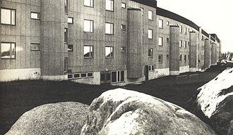 Windbreak - One of the original buildings at Svappavaara, designed by Ralph Erskine, which forms a long windbreak