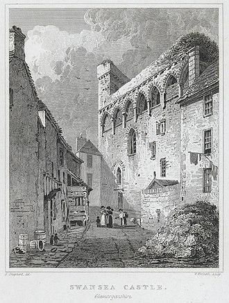 Swansea Castle - Swansea Castle, 1824 print