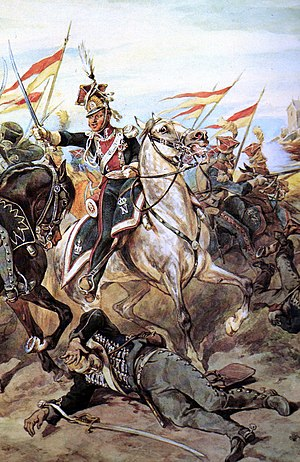 1st Polish Light Cavalry Regiment of the Imperial Guard - Light horse in combat, by Juliusz Kossak. Lance-pennons should have been red on top, white (not yellow) on bottom.