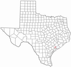 Location of La Ward, Texas