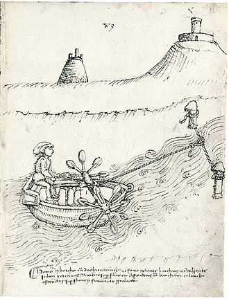 Taccola - Paddle boat system, by Taccola, De machinis (1449)