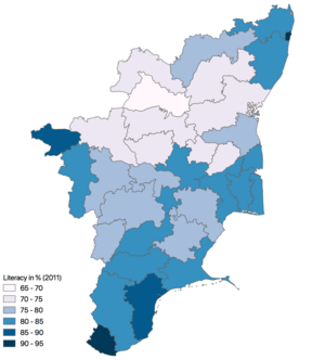 Education in Tamil Nadu - District level literacy (2011 data)