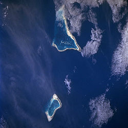 Tarawa and its southern neighbor Maiana from space (1998).