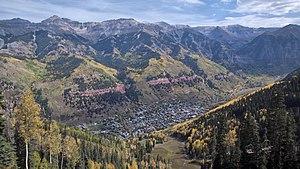 Telluride, Colorado - Fall colors in Telluride. View from the ski area, 2010
