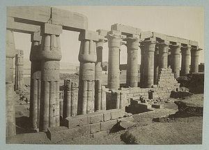 Antonio Beato - Luxor Temple, Luxor, Egypt. Albumen silver print by Antonio Beato, taken between 1860 and 1889