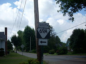 Tennessee State Route 69 - State Route 69A reassurance shield north of Camden, TN.