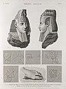 Thèbes. Memnonium (Ramesseum). 1-7. Détails de chars sculptés su r le 1-er pylône et tête de l'une statues du tombeau d'Osymandyas; 8. Débris du pied de la statue colossale d'Osymandyas (NYPL b14212718-1267962).jpg