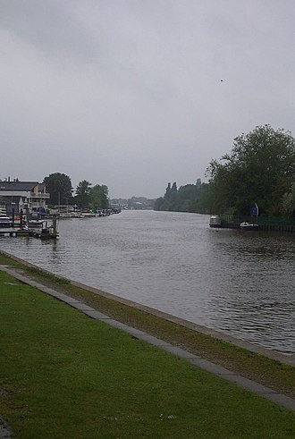 Raven's Ait - The upstream end of Ravens Ait is on the right.