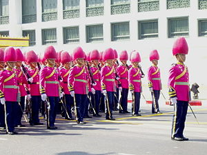 Royal Thai Air Force Security Force Regiment - The 1st Security Force Battalion, King's Guard, RTAF in the procession of Princess Galyani Vadhana's royal urn