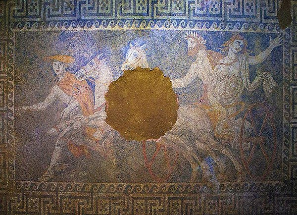 A mosaic of the Kasta Tomb in Amphipolis depicting the abduction of Persephone by Pluto, 4th century BC The Abduction of Persephone by Pluto, Amphipolis.jpg