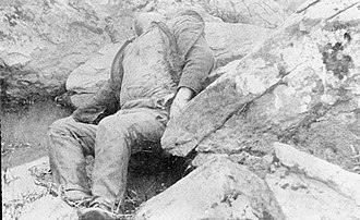 "Battle of Gettysburg, Second Day - Dead Confederate soldier in the ""Slaugther Pen"" at the foot of Big Round Top."
