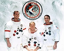 Three astronauts in space suits without helmets