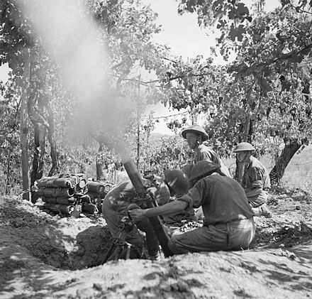 Men of the 5th Battalion, Hampshire Regiment manning a 3-inch mortar at Salerno, 15 September 1943. The British Army in Italy 1943 NA6813.jpg