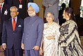 The Chief Advisor of Bangladesh, Dr. Fakhruddin Ahmed being received by the Prime Minister, Dr. Manmohan Singh on his arrival to attend the 14th SAARC Summit, in New Delhi on April 03, 2007.jpg