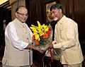 The Chief Minister of Andhra Pradesh, Shri N. Chandrababu Naidu calling on the Union Minister for Finance, Corporate Affairs and Information & Broadcasting, Shri Arun Jaitley, in New Delhi on September 23, 2015.jpg